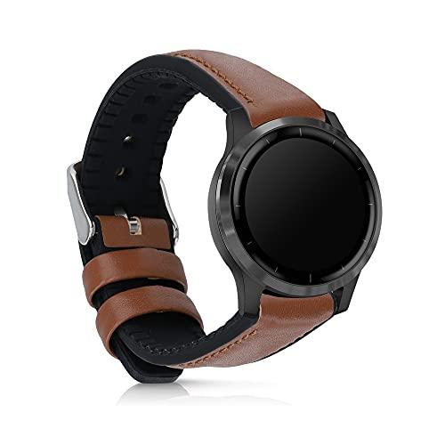 kwmobile Pulsera Compatible con Garmin Vivoactive 4 (45 mm) - Correa marrón/Negro de Cuero y Silicona para smartwatch