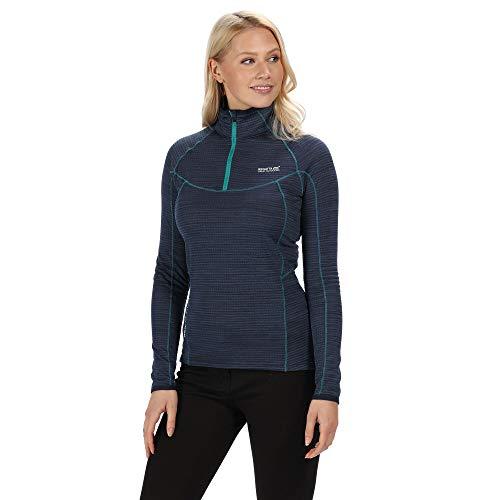 Regatta sous Couche Polaire Technique Manches Longues Yonder avec Ouverture par 1/2 Zip et propriété de séchage Rapide T-Shirt Femme Navy FR : 2XL (Taille Fabricant : 48)