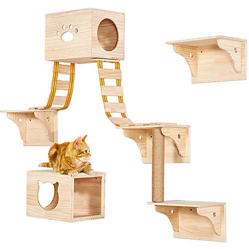 TINTON LIFE 9pcs Wall Wood Cat Climber Set - 2 Cat Condos Houses & 4 Cat Shelves & 2 Ladders & 1 Sisal Cat Scratching Post Cat Steps Cat Perch Cat Bed