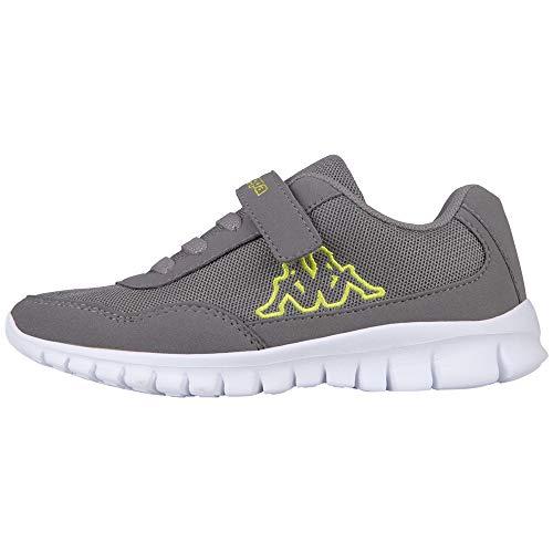 Kappa Jungen Unisex Kinder Follow Sneaker, Grey/Lime, 28 EU