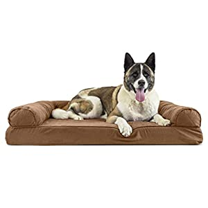 Furhaven Pet Dog Bed – Memory Foam Quilted Traditional Sofa-Style Living Room Couch Pet Bed with Removable Cover for Dogs and Cats, Toasted Brown, Jumbo