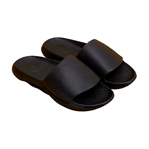 XZDNYDHGX Zapatos De Piscina para NiñA,Zapatillas de Interior Suaves y cómodas para Mujer, baño Antideslizante, Zapatos para el hogar, Diapositivas Planas, Sandalias para Mujer, Negro EU 43-44