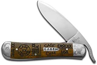 CASE XX Tang Stamps Curly Oak Wood Scrolled Russlock Stainless Pocket Knife Knives