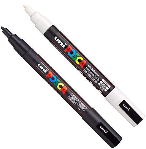 Posca PC-3M - Pennarelli per pittura artistica, in tessuto, vetro e metallo, set di nero + bianco (1 pezzo ciascuno)