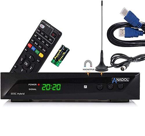 Anadol HD 555c - HDTV Kabel-Receiver & DVB-T Receiver - DVB-T2 / DVB-C - für digitales Fernsehen - PVR Aufnahmefunktion Timeshift - USB + lernbare Fernbedienung + HDMI Kabel + DVB-T Antenne