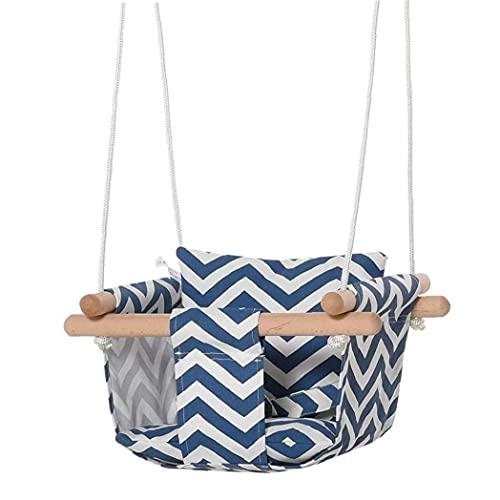 Hamaca Silla de bebé seguro oscilación colgante del asiento de la lona con amortiguador de la almohadilla del algodón marco de madera, silla de la hamaca de bebé