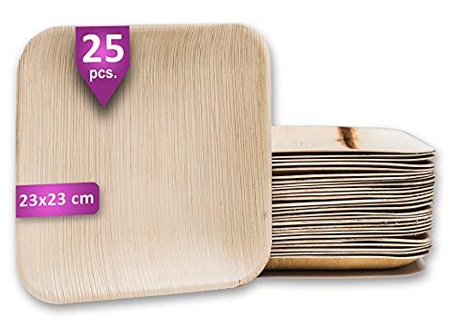 Waipur Assiette Palmier Bio - 25 Assiettes Carrées 23x23 cm – Vaisselle Jetable de Qualité Supérieure - Stable, Naturelle et Biodégradable – Plats Jetable Bois similaire