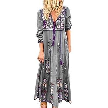 Womens Denim Shirt Dresses Fashion Summer Sexy V Neck 3/8 Sleeve Loose Ruffle Long Maxi Pleated Dress Cowboy Sundress