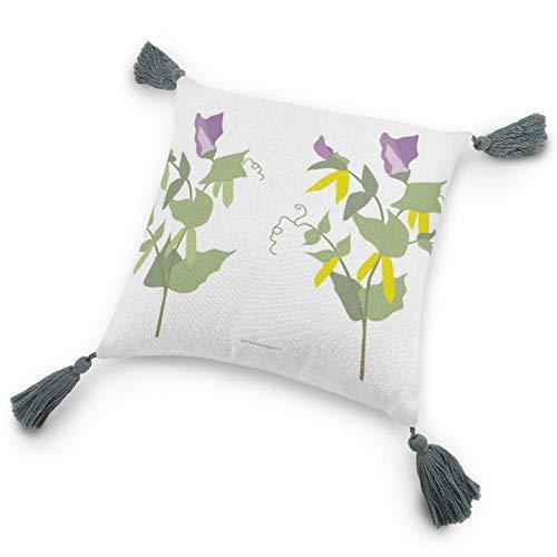 Federa per cuscino con inserto 22,8 x 22,8 cm, motivo piante di pisello, federa decorativa per cuscino con nappe, per camera da letto, soggiorno divano