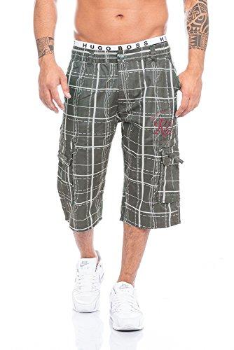 Raff&Taff Herren Bermuda Shorts Capri in schönen Karo Farben Schwarz,Weiß und in Antrhrazit Oliv bis XXXL (XXXL, Oliv)