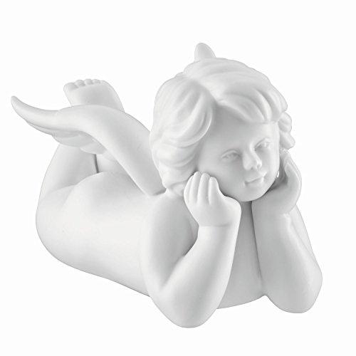 Deko-Engel liegend und nachdenkend aus Biskuit Porzellan in weiß matt. Rosenthal Qualität. Für Zuhause oder im Garten, auch Grab-Schmuck. 13 cm