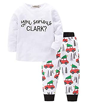 stylesilove Toddle Boy You Serious Clark? Cotton Long Sleeve Top and Car Pattern Pants 2 Pcs Pajamas Outfit Set  100/2-3 Years  White