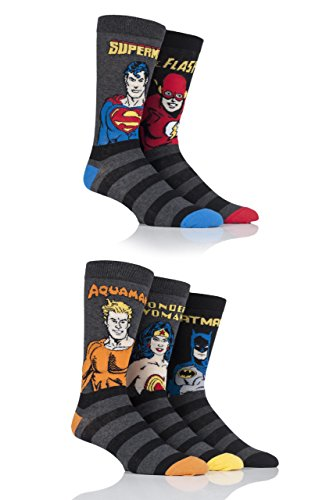 Film und TV Herren 5 Paar SockShop Justice League Aquaman, Flash, Superman, Batman & Wonder Woman Socken - Sortiert 46-48