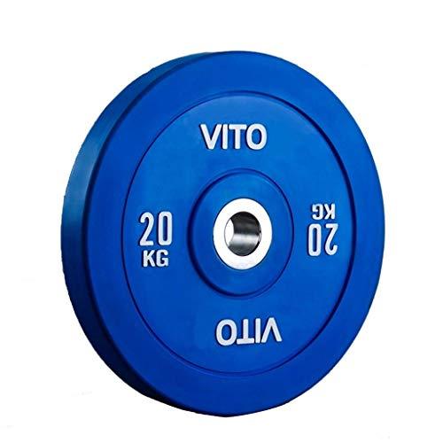 Ownlife Olympische Stoßfänger-Gewichtscheibe, Bunte Hantel Gewichtheben Platte, 2-Zoll-Lochplatte für Trainings-Gymnastik Gewichtheben, Single (Größe : 20kg/44lb)