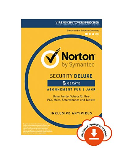 Norton Security Deluxe 2019 | 5 Geräte | 1 Jahr | PC/Mac/iOS/Android | Download, Aktivierungscode per Email