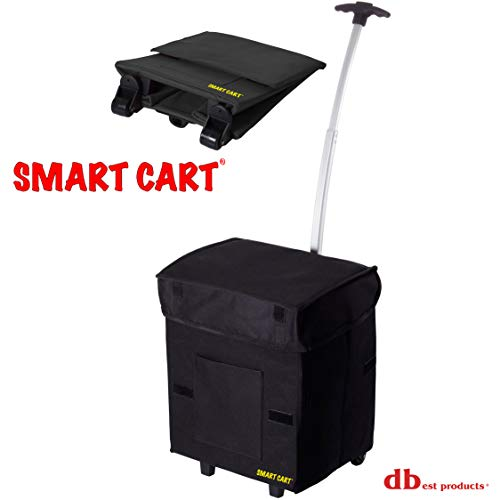 dbest products Smart Cart, BLACK Collapsible Rolling Utility Cart Basket Grocery Shopping Teacher Hobby Craft Art