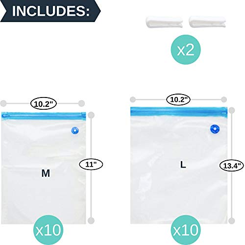 Sous Vide Bags 20 Reusable Vacuum Food Storage Bags for Anova, Joule Cookers - 2 Sizes Sous Vide Bag Kit - 2 Sealing Clips for Food Storage and Sous Vide Cooking