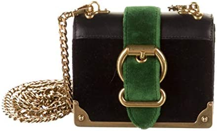 Prada Cahier Black Green Velluto city velvet mini handbag 1BH058 product image