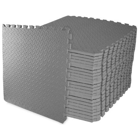 Everyday Essentials 3/4' (Gray) Thick Flooring Puzzle Exercise Mat with EVA Foam Interlocking Tiles,...
