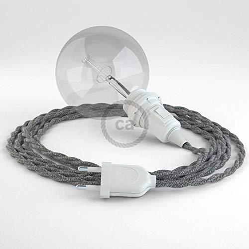 creative cables Créez Votre Snake pour Abat-Jour Lin Naturel Gris TN02 et apportez la lumière là où Vous Souhaitez. - 5 Mètres,