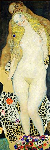 Gustav Klimt - Adam Y Eva Reproducción Cuadro sobre Lienzo Enrollado 40X120 cm - Cuerpo Femenino Desnudo Pinturas Impresións Decoración Muro