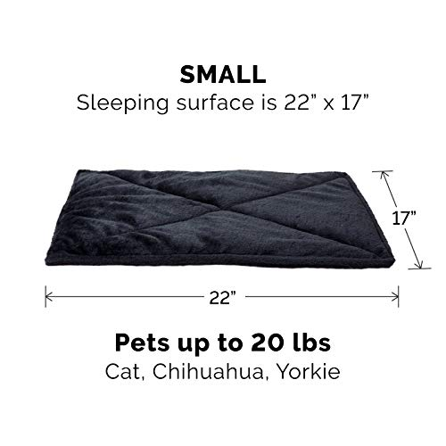 Furhaven Pet Dog Bed Heating Pad - ThermaNAP Quilted Faux Fur Insulated Thermal Self-Warming Pet Bed Pad for Dogs and Cats, Black, Small