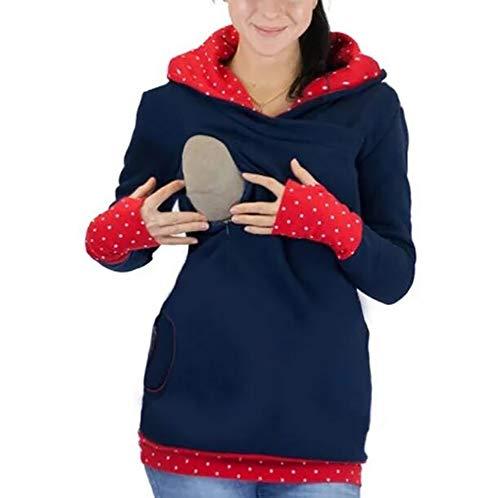 SHANGLY Damen Stillzeit Umstands Sweatshirt Kapuzenpullover Ausblenden Zip Stillen Freizeitkleidung,Rot,XXL