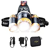Headlamp, LETOUR Bright Lumen Rechargeable headlamp Cree T6 LED Headlamp, Waterproof Flashlight with Zoomable Headlight, Adjustable Work Head Lamp for Camping, Running, Hiking