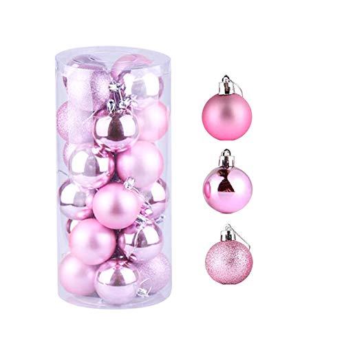 JIASHA Palle di Natale,Rosa Decorazione Albero di Natale,Baubles Decorati Lucidi, per Decorazione Dell'Albero di Natale