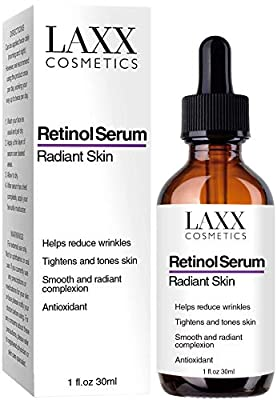 Retinol Serum for Face/Neck/Eyes - 5X MORE POWERFUL Anti-Aging Serum with 20% Vit C - Wrinkles/Lines/Aging by Laxx Cosmetics