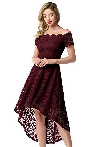 Aupuls Elegancka damska sukienka z koronką, Vokuhila, odsłonięte ramiona, sukienka balowa, wieczorowa, na wesele, koktajlowa