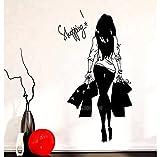 Moda mujer joven bolsa de compras tienda de ropa vinilo pared calcomanía tienda de ropa etiqueta de la pared chica sexy dormitorio decoración del hogar 56x109cm