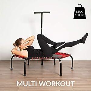 Ultrasport Fitness Trampolin, Ø ca.135cm, 5-fach höhenverstellbarer Haltegriff,sehr leise Gummiseilfederung, Jumping Fitness & Indoor geeignet, komfortable Griffummantelung aus Schaumstoff, 2 Variaten