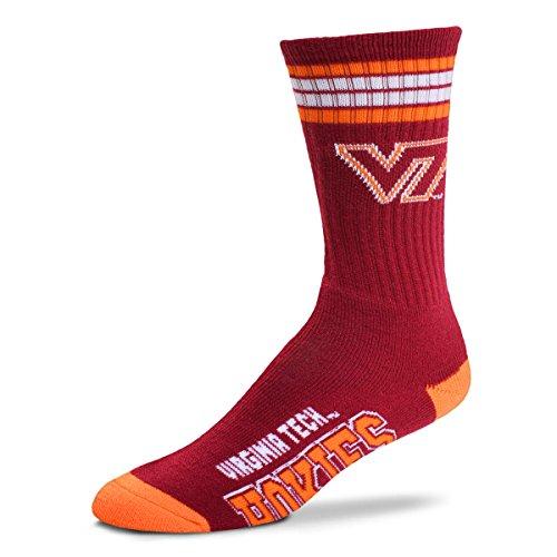 For Bare Feet NCAA 4 Stripe Deuce Crew Men Socks (Virginia Tech, Medium (5-10))