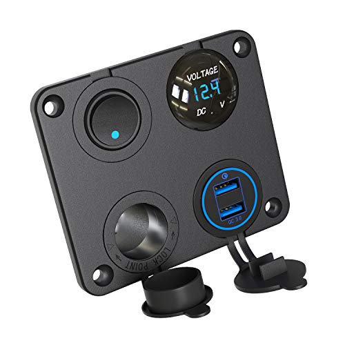 QC 3.0 USB Auto Steckdose, 12V Panel USB KFZ Einbau Buchse Adapter Wasserdicht Zigarettenanzünder Dose mit LED Voltmeter Spannungs Anzeige 36W Quick Charge 3.0 für Wippschalter auf Boot ATV RV