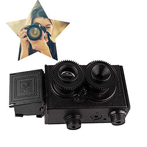 Retro dubbele achteruitrijcamera, popularisering van wetenschapsspeelgoed Vintage twin-lens rolfilmcamera Kinderspeelgoed Mini leren speelgoedcamera Cadeaus voor verjaardag Vakantiereizen
