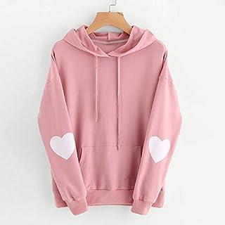 Festnight Loose Jumper,Fashion Women Hoodie Sweatshirts Heart Pattern Long Sleeve Casual Loose Pullover Hooded Tops Pink/B...