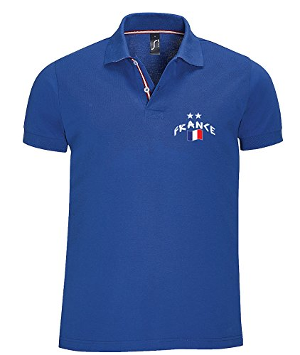 Supportershop France champions 2 étoiles Polo Homme Bleu FR : 2XL (Taille Fabricant : XXL)