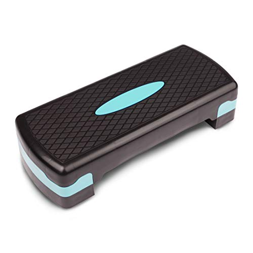 Ultrasport Horse Rider Step/Stepper de aeróbic, Unisex Adulto, Negro/Menta, Altura Regulable