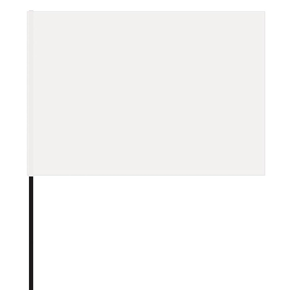 Vinyl Stake Flags with Wire Stakes, Bundle of 100 Oversize Marking Flags (White)