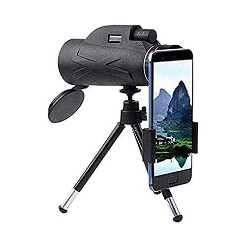 HD Monocular Telescopio Portatil HD monocular con titular de teléfono y trípode 80x100 bak4 impermeable a prueba de agua Visión nocturna Telescopio para observación de aves Caza de acampar Uso fácil a