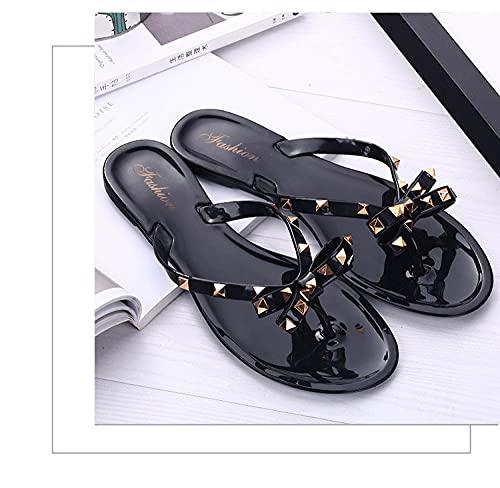 Ciabatte Infradito Pantofola Sandali Women Slippers Flip Flops Outdoor Beach Slides Soft Sole Sandals Women's Shoes-Black_38