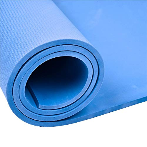Sponsi Alfombra de Yoga Colchoneta de Gimnasia con Ejercicio Antideslizante EVA de 8 mm de Espesor - Yoga, Pilates, Abdominales, estiramientos, hogar, Gimnasio - Azul