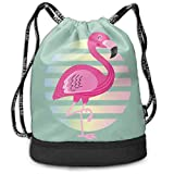 ewtretr Sacs à Cordon,Sac à Dos Cute Pink Flamingo Drawstring Backpack Compartment Sport Bags