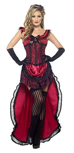 Authentische Western Kollektion Bordell-Schätzchen Kostüm Burgunderrot mit Kleid und Korsett , Medium