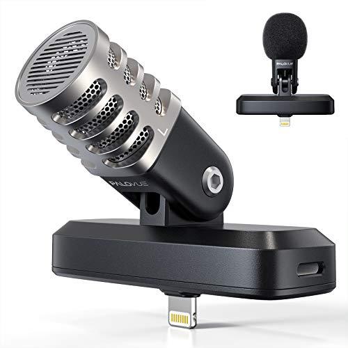 PALOVUE Tragbares Mikrofon mit Lightning-Anschluss für iPad/iPhone, 3,5-mm-Kopfhöreranschluss und professionelles digitales Stereo-Kondensatormikrofon mit Ladeanschluss für Aufnahmen