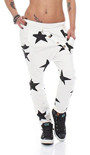 Damen Jogginhose im Boyfriend-Style Sweatpants für Freizeit Sport und Fitness 283 (Einheitsgröße 36-42, Weiß)