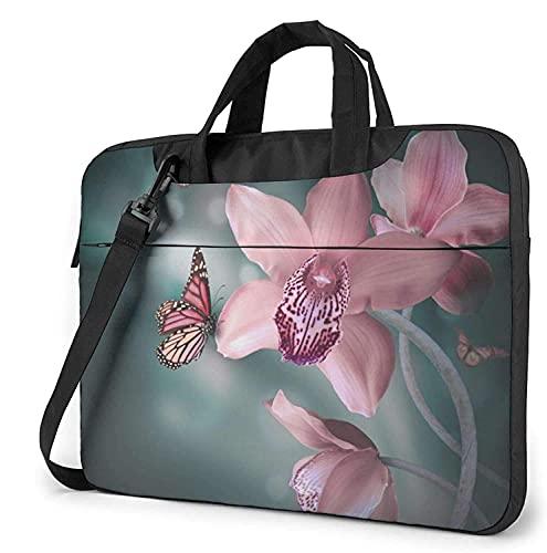 Maletín Funda para Ordenador Portátil Orquídea Flor Mariposa Suave Fresco Primavera Portadocumentos Maletines y Bolso Bandolera para Portátil 13/14/15.6 Pulgadas