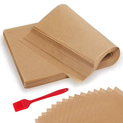 300 Pcs Parchment Paper Sheets, OAMCEG 12x16' No Chemical Non-Stick Unbleached Precut Parchment Paper with a Silicone Brush for Baking Grilling Air Fryer Steaming Bread Cup Cake Cookie and More
