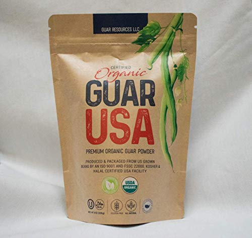 ORGANIC Guar Gum Powder Fully Traceable 100% USA Grown and Milled. Food Grade, Natural, Gluten Free & Vegan. Kosher, Halal, & Non-GMO Certified. Perfect for Keto & Paleo diets, Baking, Cooking & Ice Cream (8 oz/228g)